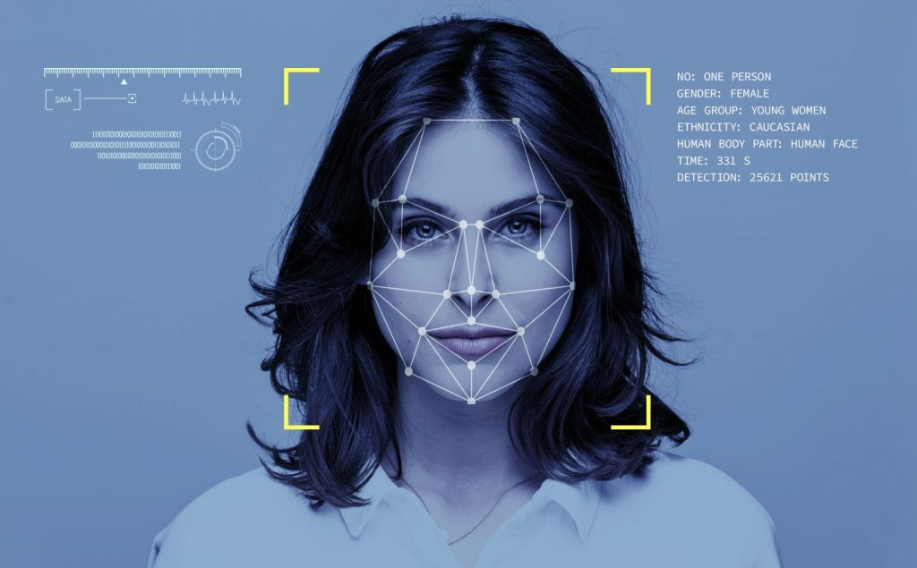Data Annotation & Tagging - A woman with Facial Tracking points on her face